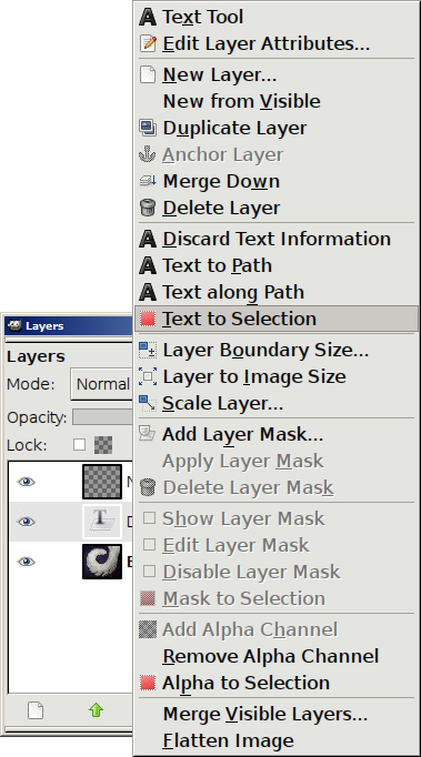 The context menu of the Layers window, with 'Text to Selection' highlighted.